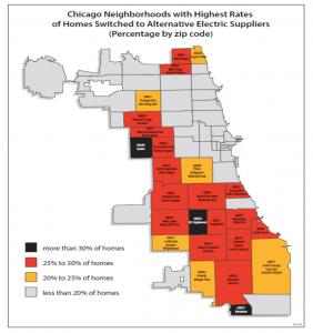 Map of alternative supplier enrollment in Illinois